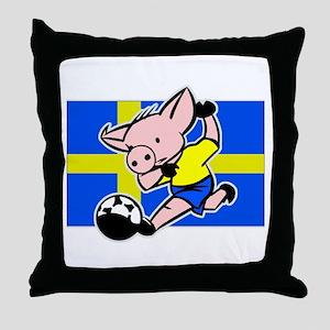 Sweden Soccer Pigs Throw Pillow