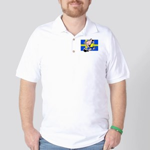Sweden Soccer Pigs Golf Shirt