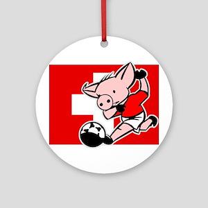 Switzerland Soccer Pigs Ornament (Round)