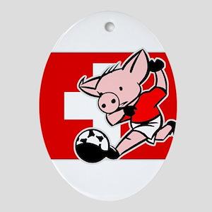 Switzerland Soccer Pigs Oval Ornament