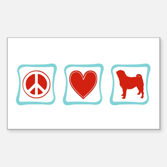 Peace, Love and Pugs Sticker (Rectangle)