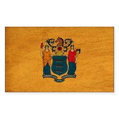 New Jersey Flag Sticker (Rectangle)