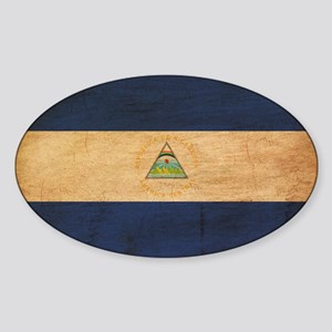 Nicaragua Flag Sticker (Oval)