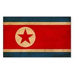 North Korea Flag Sticker (Rectangle 10 pk)