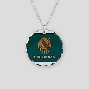 Oklahoma Flag Necklace Circle Charm