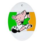 Ireland Soccer Pigs Oval Ornament