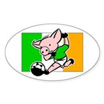 Ireland Soccer Pigs Oval Sticker