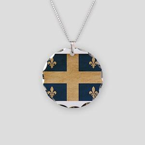 Quebec Flag Necklace Circle Charm