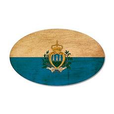 San Marino Flag 22x14 Oval Wall Peel