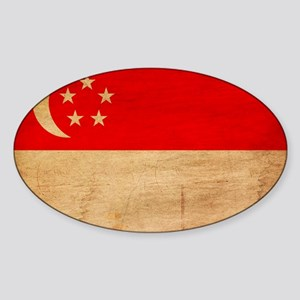 Singapore Flag Sticker (Oval)