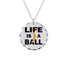 Life Is A Ball Basketball Necklace Circle Charm