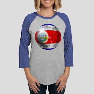 Costa Rica Soccer Ball Womens Baseball Tee