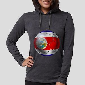Costa Rica Soccer Ball Womens Hooded Shirt