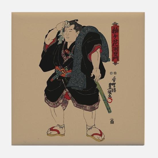 Sumo wrestler Somagahana Fuchiemon Tile Coaster