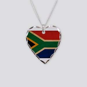 South Africa Flag Necklace Heart Charm
