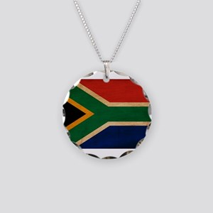 South Africa Flag Necklace Circle Charm