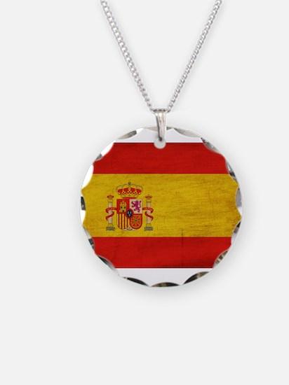 Spain Flag Necklace Circle Charm