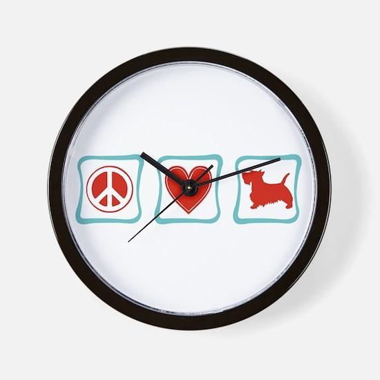 Peace, Love & Scottish Terriers Wall Clock