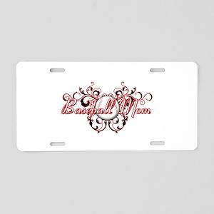 Baseball Mom (heart) Aluminum License Plate