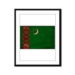 Turkmenistan Flag Framed Panel Print