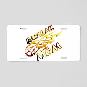 Baseball Mom (flame) Aluminum License Plate