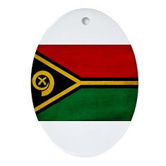 Vanuatu Flag Ornament (Oval)