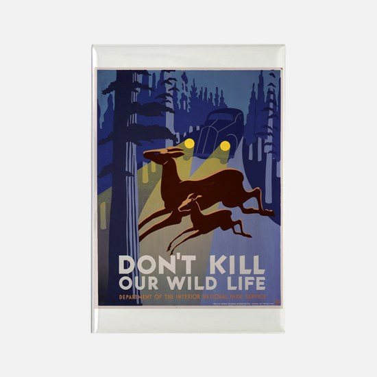 Wild Life WPA Poster Rectangle Magnet