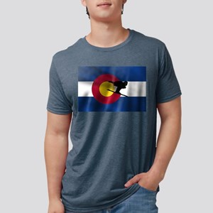 Colorado Skiing Flag Mens Tri-blend T-Shirt