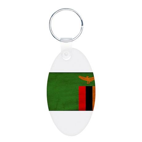 Zambia Flag Aluminum Oval Keychain