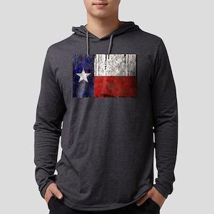 Retro Flag of Texas Mens Hooded Shirt