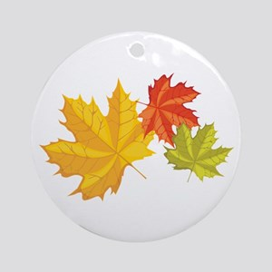 Three Leaves Ornament (Round)