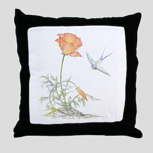 CALIFORNIA POPPY & SWALLOW - Throw Pillow