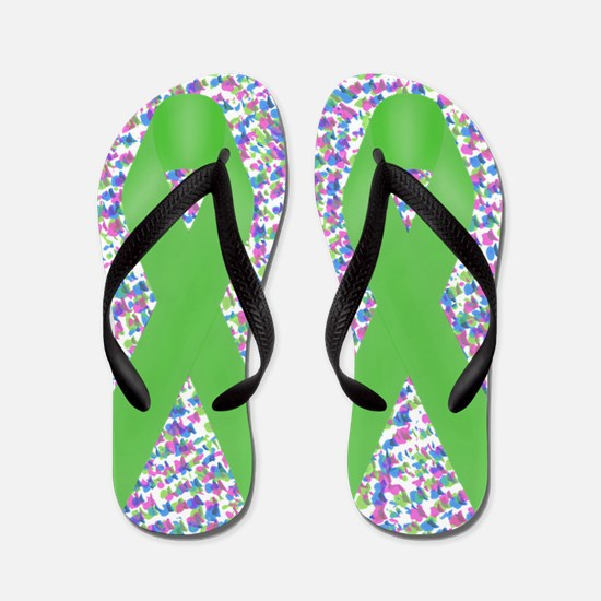 Green Awareness Ribbon Flip Flops