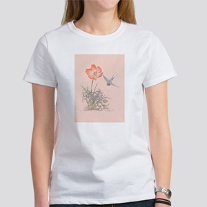 ORIENTAL POPPY WITH BIRD Women's T-Shirt
