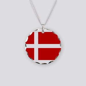 Denmark Flag Necklace Circle Charm