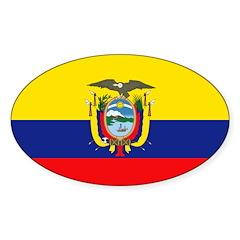 Ecuador Flag Sticker (Oval 50 pk)