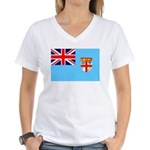 Fiji Flag Women's V-Neck T-Shirt