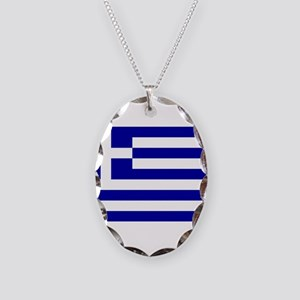 Greece Flag Necklace Oval Charm