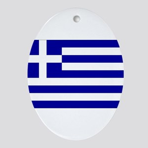 Greece Flag Ornament (Oval)