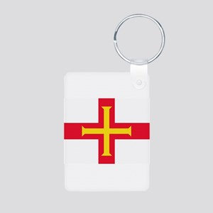 Guernsey Flag Aluminum Photo Keychain