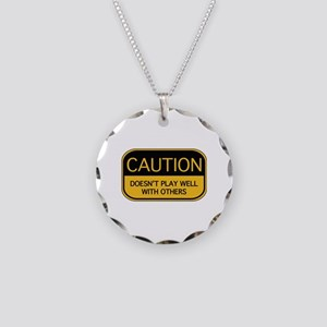 CAUTION Necklace Circle Charm