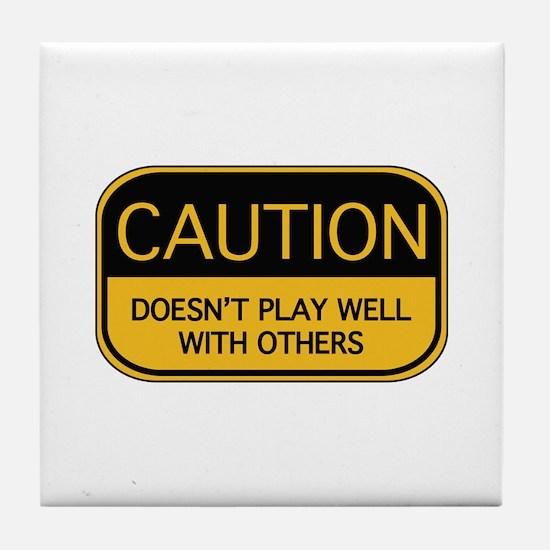 CAUTION Tile Coaster
