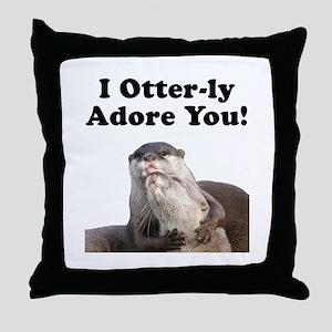 Otterly Adore Throw Pillow