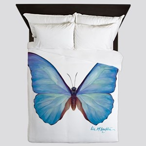 gorgeous blue morpho butterfly Queen Duvet