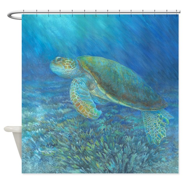 Sea Turtle Shower Curtain By McLaughlinWatercolor