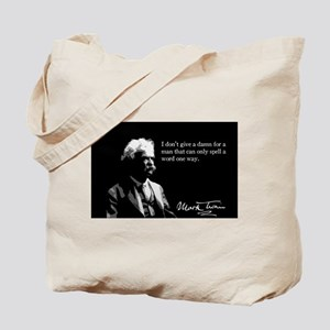 Mark Twain, I Don't Give A Damn, Tote Bag