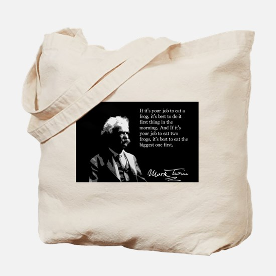 Mark Twain, Eating Frogs, Tote Bag
