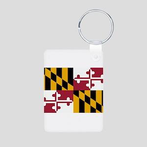 Maryland Flag Aluminum Photo Keychain