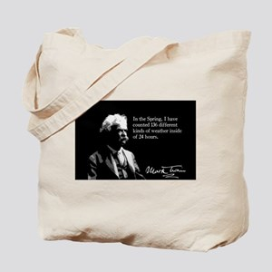 Mark Twain, Funny Weather Quote, Tote Bag