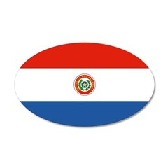 Paraguay Flag 38.5 x 24.5 Oval Wall Peel